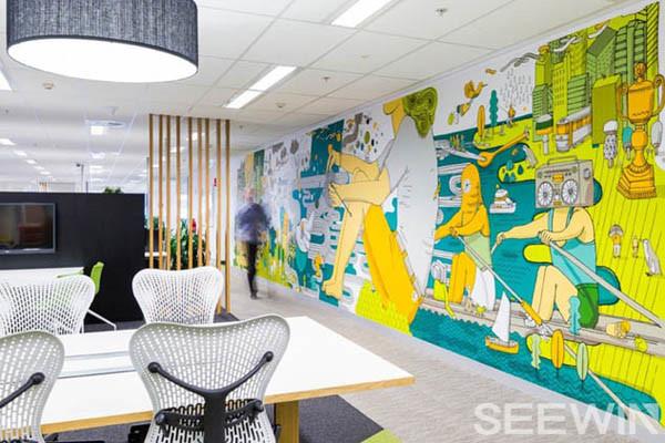 创意与涂鸦办公环境,打造充满欢乐的银行呼叫中心